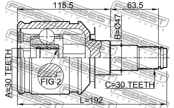 Zestaw przegubu, półoż napędowa FEBEST 0111-GRJ120